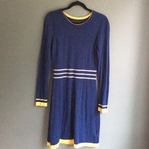 Cynthia Rowley blue & gold striped sweater dress